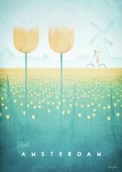holland amsterdam netherlands minimalistic flowers field tulip vintage travel woman girl bike bicycle cycling people retro green yellow illustration