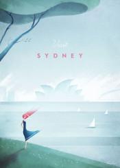 sydney australia harbour sea ocean opera house tree grass wind skyline boast sailing yacht girl woman cloud vintage travel people retro illustration minimalistic