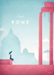 rome italy skyline city architecture column roman classical woman girl vintage travel people retro red blue illustration minimalistic