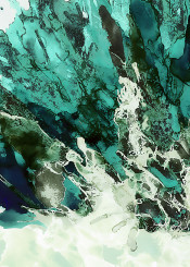 abstract painting ink fantasy crystal nature sea ocean green blue