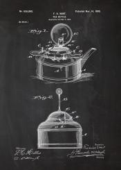 tea kettle pote teapot earlgrey earl grey black five oclock cafe cafeteria coffee blackboard blueprint blackprint vintage patent drawing