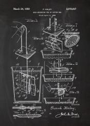 tea coffee bag teapot cafeteria cafe drink earlgrey earl grey patent drawing blackboard blueprint blackprint vintage