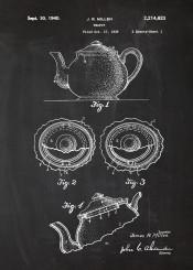 teapot tea cafe cafeteria coffee dring earlgrey earl grey patent drawing vintage blackboard blueprint five oclock blackprint project