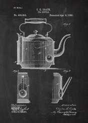 tea teapot kettle cafe caafetera coffee five oclock british dring earl grey earlgrey blackboard blueprint blackprint vintage patent drawing
