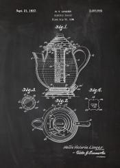 electric tea pot teapot cafe cafeteria coffee earlgray black blackboard blueprint blackprint vintage patent drawing