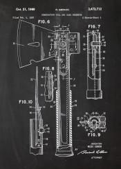 combination tool axe cut tree timber lumberjack patent drawing blackboard blueprint blackprint