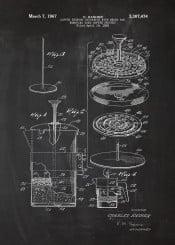 coffee cafe cafeteria milk drink macchiato americano latte mocca blackboard blueprint blackprint vintage plate patent drawing