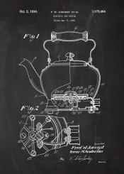 tea caffee cafe cafeteria earlgrey pot kettle teapot blackboard blackprint blueprint vintage patent drawing five oclock breakfast