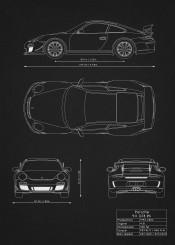 porsche 911 gt3 car racing super wrc blueprint design patent black white