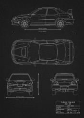 Supercars blueprints by rockstone displate subaru impreza wrx sti car super racing wrc blueprint design patent black white malvernweather Image collections