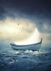 moon boat sea stormy clouds bird surreal mood dreamy
