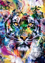 wild cats tigers colorful fantasy watercolor digital