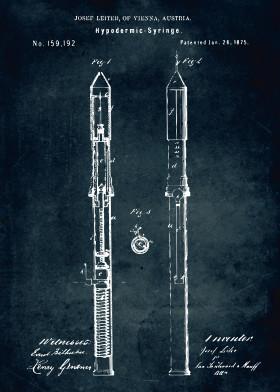 Medical patents by popculart displate 369 1875 hypodermic syringe vintage patent patents patentart posters blue print lab laboratory medical medicine engineer malvernweather Gallery