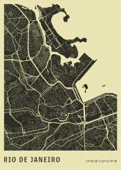 city map citymap maps plann aerial rio riodejaneiro janeiro brasil minimalistic office monochrome