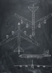 boeing stratofortess black white plane airplane blueprint