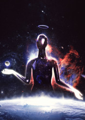 space god alien creation earth planets scifi fantasy surrealism magic black dark matter light nebula stars cosmos universe life death angel demon creature monster conceptart original contemporaryart photoshop