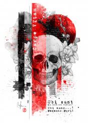 memento mori carpe vitam life skull orchid red black