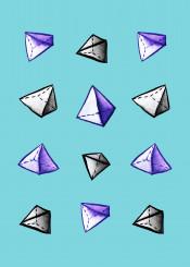 blue watercolor pyramid pyramids pattern geometry geometric geometrical math mathematics geek nerd triangle triangles abstract