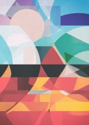 digital abstract colorful fire air water elements balance earth life sun hot cold geometric