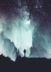 glitch silhouette stars night landscape digital photo manipulation