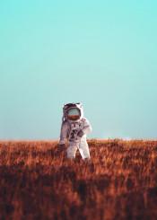 astronaut space photo manipulation sky field digital nature