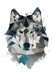 wolf winter lowpoly abstract animals geometric grey
