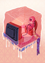 cube ice winter gamer gaming videogames player surrealism geometric tv television telly hexahedron shapes maths reverie cold coloful cuboid originality rare odd illusion refuge haven preserved wintertime icecream brandnew dreamlike flashy pastime different uncommon authentic icicle fantasy fantasia original