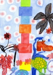 shoe tree abstract floral square geometry painting color colorful watercolor watercolour cool contemporary expressionism expressive pile stack squares