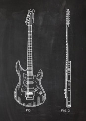 musical instrument guitar electric accustic sound blackboard blueprint vintage drawing patent play