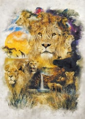lion animals surrealism nature lions fantasy story movie film creatures africa tribal sahara plains landscape collage lioness giraffe elephant rhino monkey grass sun life biology ecology wild