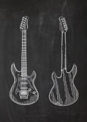 electric guitar gitara elektryczna play sound concert musical instrument patent drawing plate vintage blackboard blueprint blackprint string