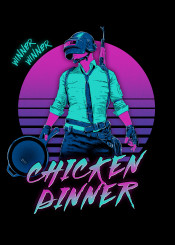 pubg winner chicken dinner 80s retro neon gaming battleground battle royale
