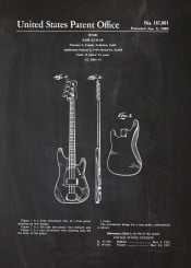 bass guitar patent drawing music instrument electric accusic play sound concert blackboard fender bluprint vintage