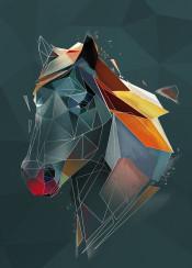 sketch horse head lowpoly line colours geometric