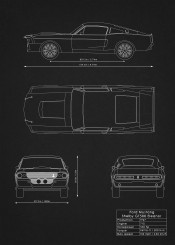 Supercars blueprints by rockstone metal posters displate ford mustang shelby gt500 eleanor supercar muscle car super blueprint patent design malvernweather Gallery