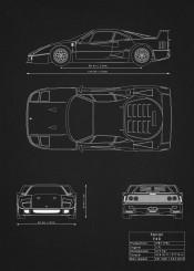 ferrari f40 supercar car super blueprint design patent