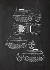 sdkfz light armoured halftrack truck germany wwii world war soldier battle armour fighting tank blackboard blueprint blackprint patent drawing vintage old