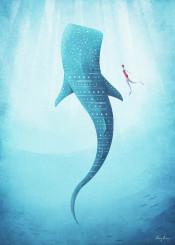 whale shark ocean sea water underwater diving diver animal fish woman girl people vintage retro travel blue illustration minimalism minimal minimalistic