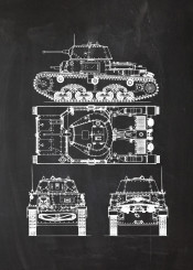 fiat tank m13 bettery battle vehicle fighting war wwii infantry soldier tanks blackboard blueprint vintage patent drawing armoured armour