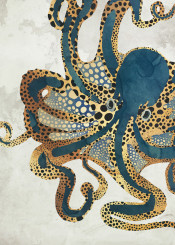 octopus marine nature abstract contemporary animal digital blue gold watercolor