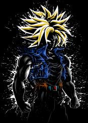 trunks anime manga super power future stain splatter dark japan saiyan