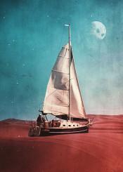 surreal surrealism digital digitalart design graphicdesign illustration boat moon desert