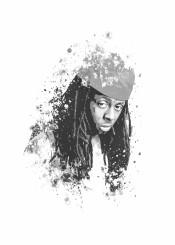 lil wayne rap hiphop splatter portrait