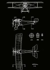 nieuport plane planes blueprint black white