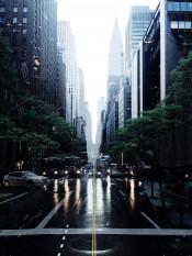 nyc newyork manhattan rain urban city road skyscraper street reflection