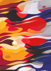 graphic design abstract pattern colorful curves waves sun harmony chaos streams warm