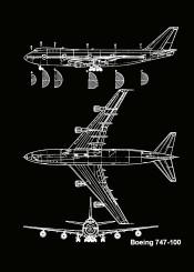 boeing 747 100 plane aircraft planes blueprint sky airforce mancave pattent lines