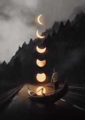 gondola man moon landscape forest stars surreal