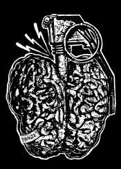danger brain dangerbrain boom granade thunder illustration design designart designillustration black white blackandwhite graphicdesign onecolor sebrodbrick
