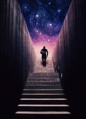 man stairs space stars galaxy surreal